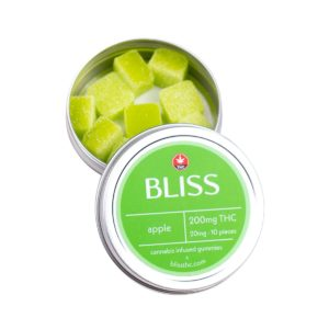 Bliss Green Apple 200mg THC Gummies – 10 pcs