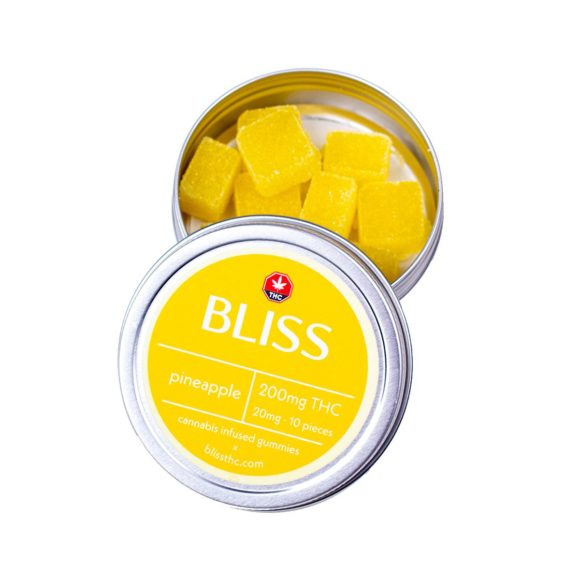 Bliss Pineapple 200mg THC Gummies Edibles Front