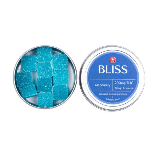 Bliss Blue Raspberry 200mg THC Gummies Edibles Side