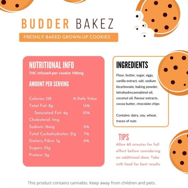 Budder Bakez Edibles Cookies Label