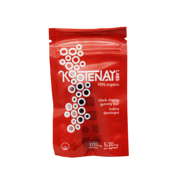 Kootenay Labs Black Cherry THC Gummy Bar 100mg Front