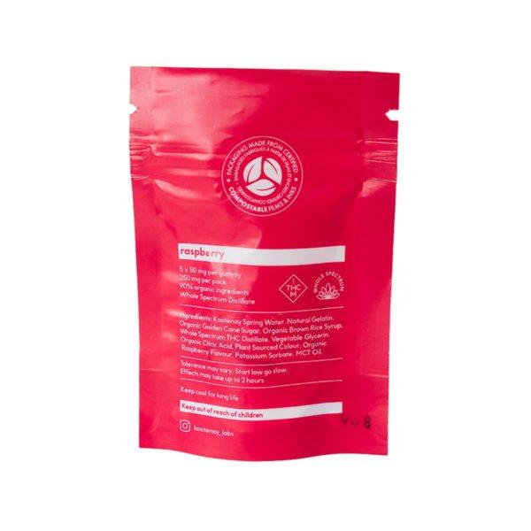 Kootenay Labs Raspberry Sativa Gummies 50mg - 5pcs - back