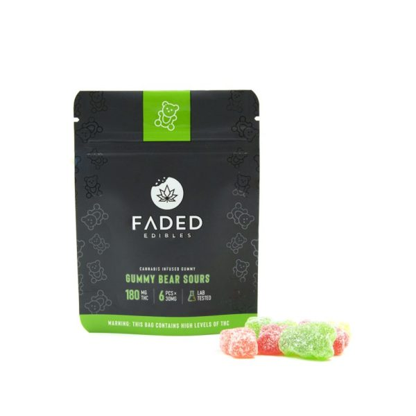 Faded Edibles Gummy Sour Bears 180mg THC - Outside Pack