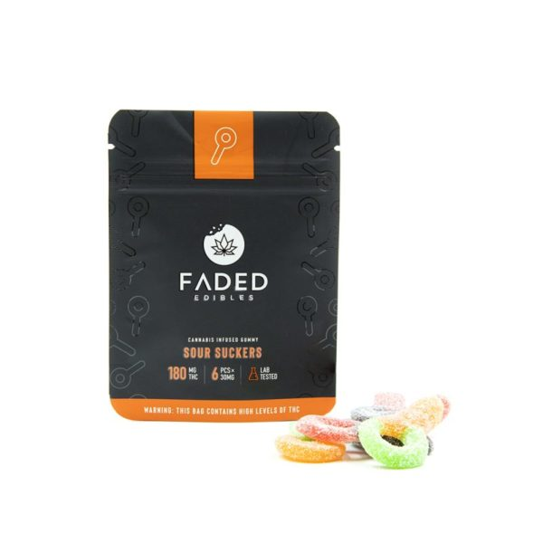 Faded Cannabis Co. Edibles Sour Suckers180mg - outside pack