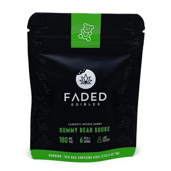 Faded Edibles Gummy Sour Bears 180mg THC
