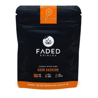 Faded Edibles 30mg Sour Suckers Gummies – 180mg