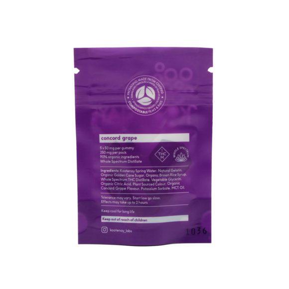 Kootenay Labs Grape Indica Gummies 50mg Back