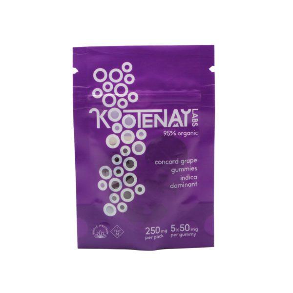 Kootenay Labs Grape Indica Gummies 50mg Front