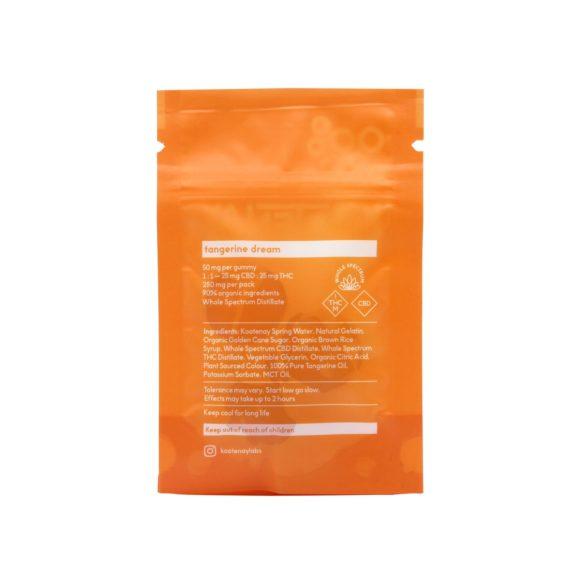 Kootenay Labs 5x-50mg 1-to-1 THC-CBD Gummies Tangerine 250mg back