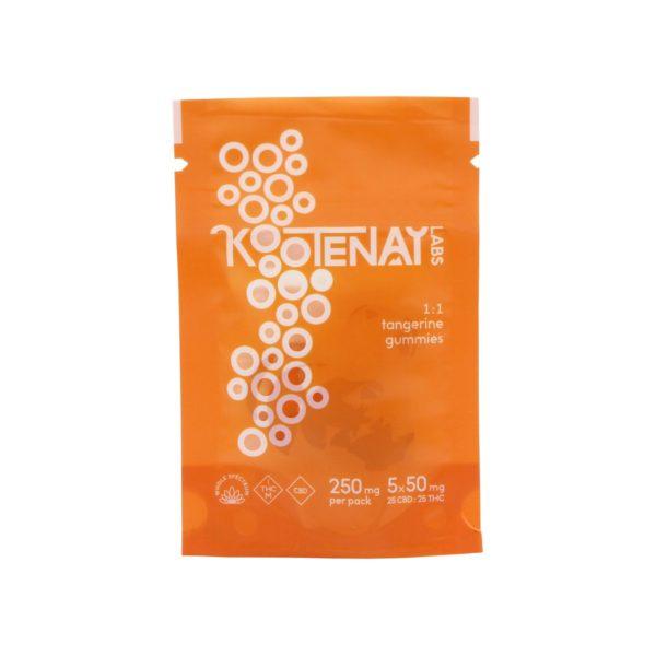 Kootenay Labs 5x-50mg 1-to-1 THC-CBD Gummies Tangerine 250mg front
