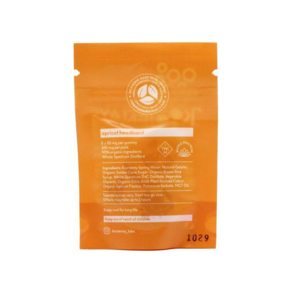 Kootenay Labs Apricot Sativa Gummies 50mg Back